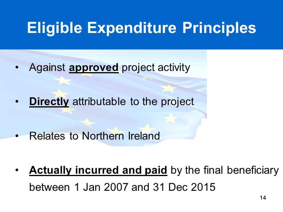 Eligible Expenditure Principles