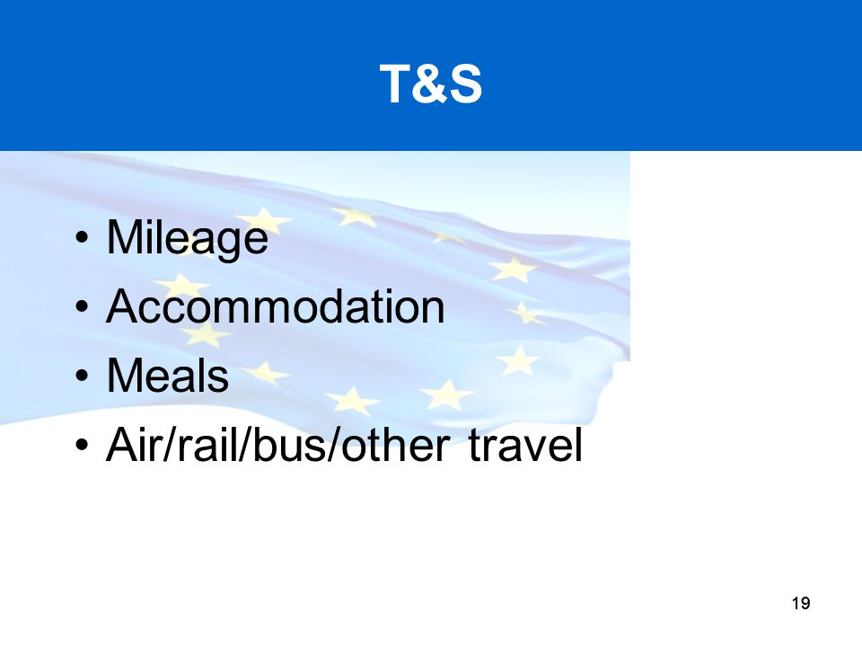 T&S Mileage Accommodation Meals Air/rail/bus/other travel