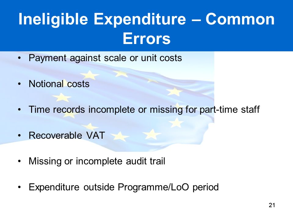 Ineligible Expenditure – Common Errors