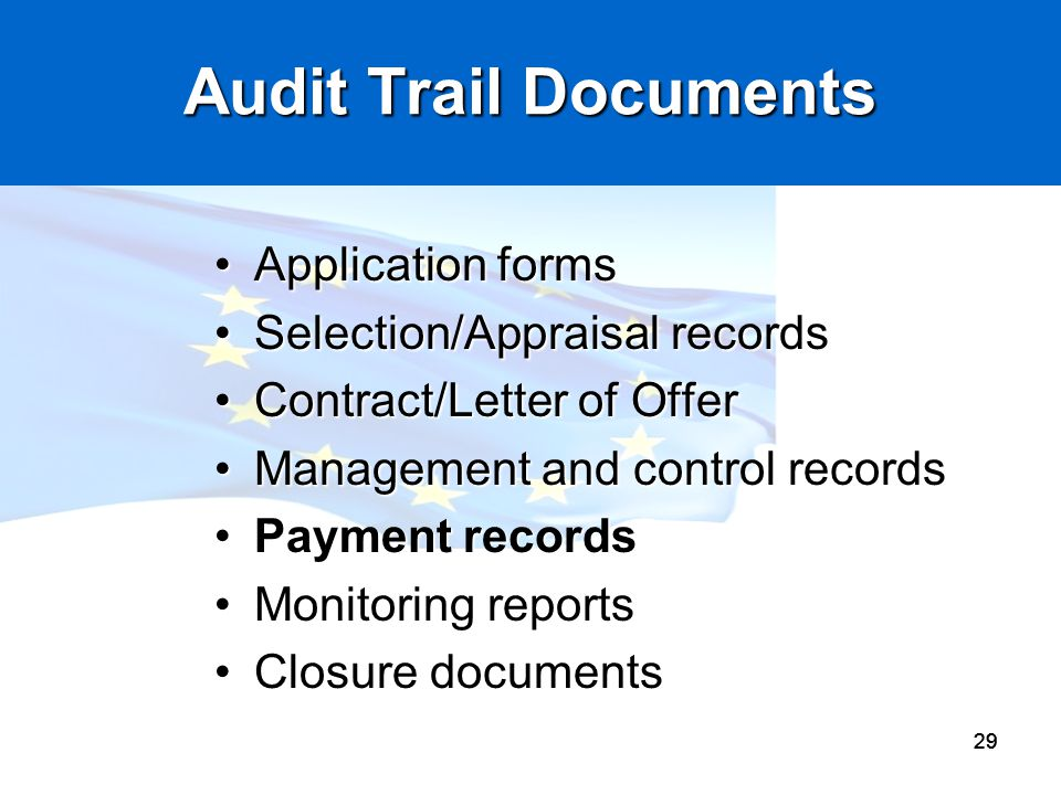 Audit Trail Documents Application forms Selection/Appraisal records