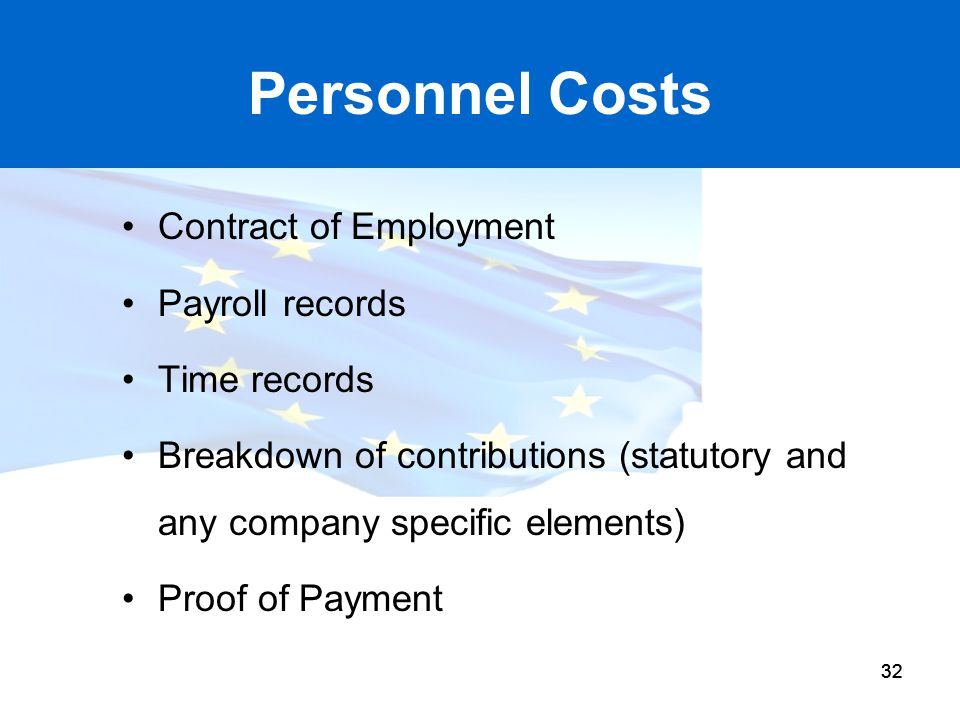 Personnel Costs Contract of Employment Payroll records Time records