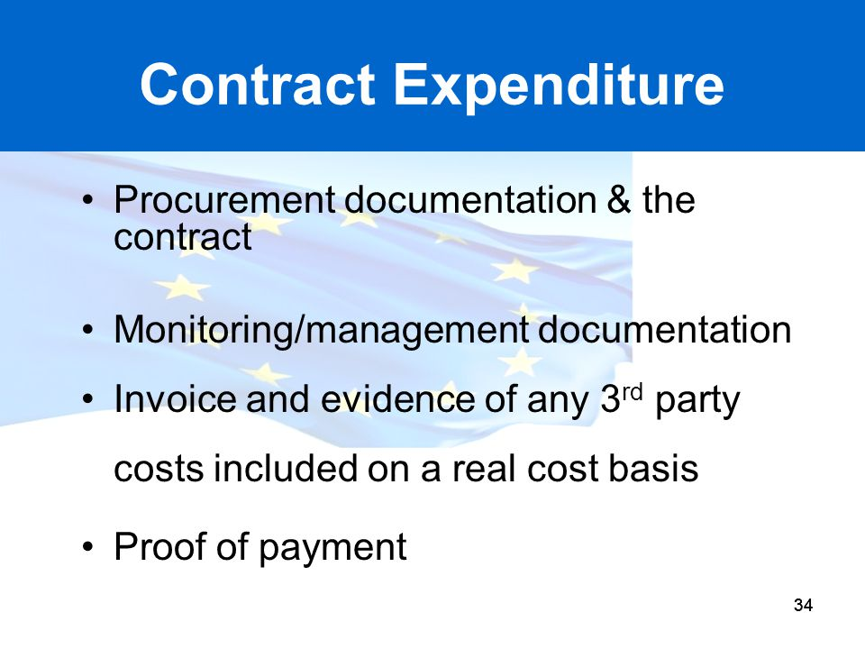 Contract Expenditure Procurement documentation & the contract