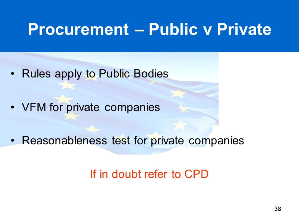 Procurement – Public v Private