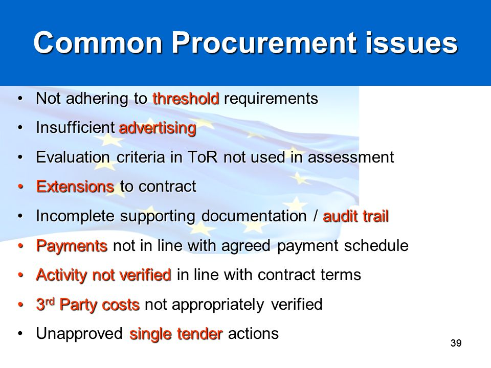 Common Procurement issues