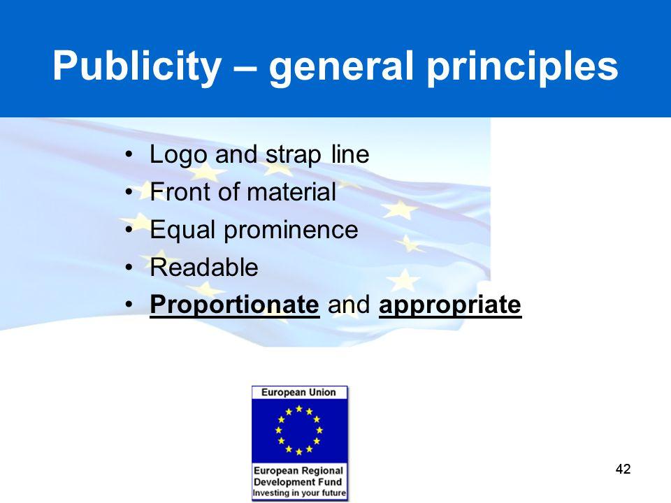 Publicity – general principles