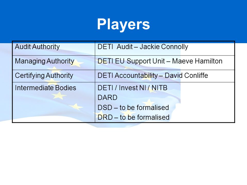 Players Audit Authority DETI Audit – Jackie Connolly