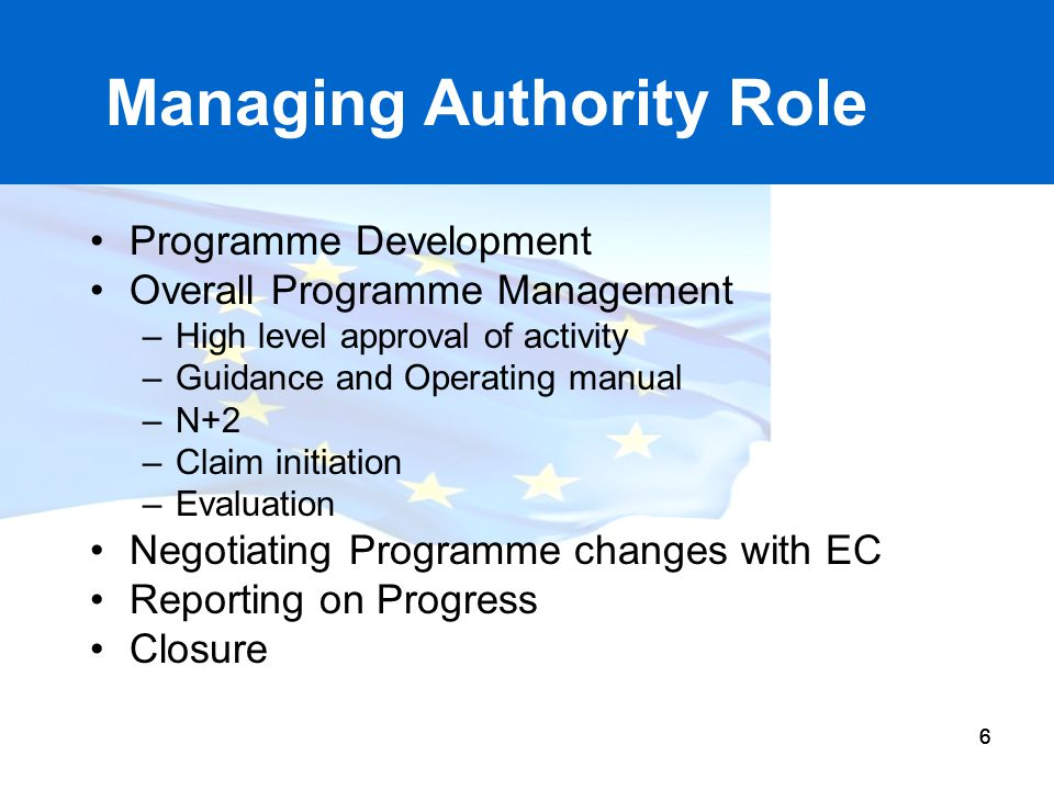 Managing Authority Role