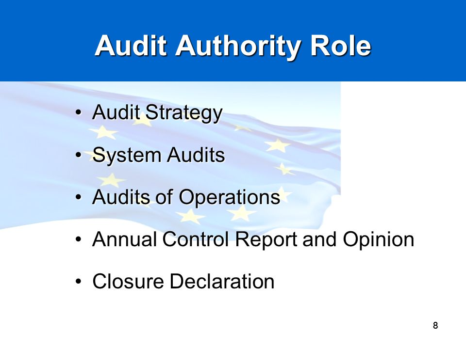 Audit Authority Role Audit Strategy System Audits Audits of Operations