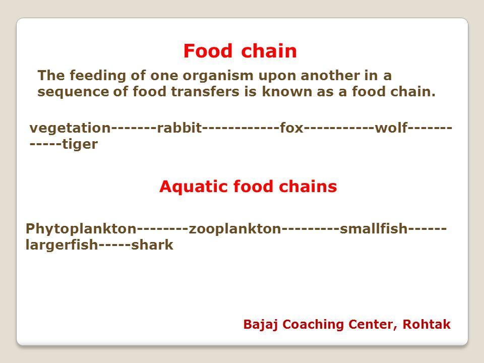 Food chain Aquatic food chains