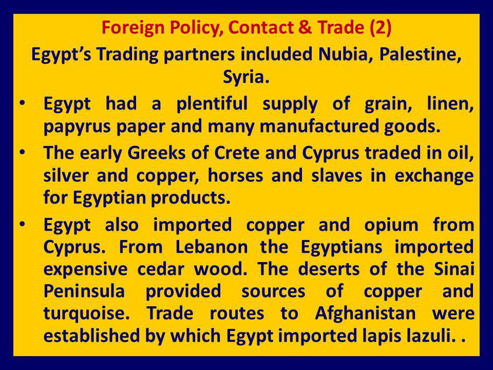 Foreign Policy, Contact & Trade (2)