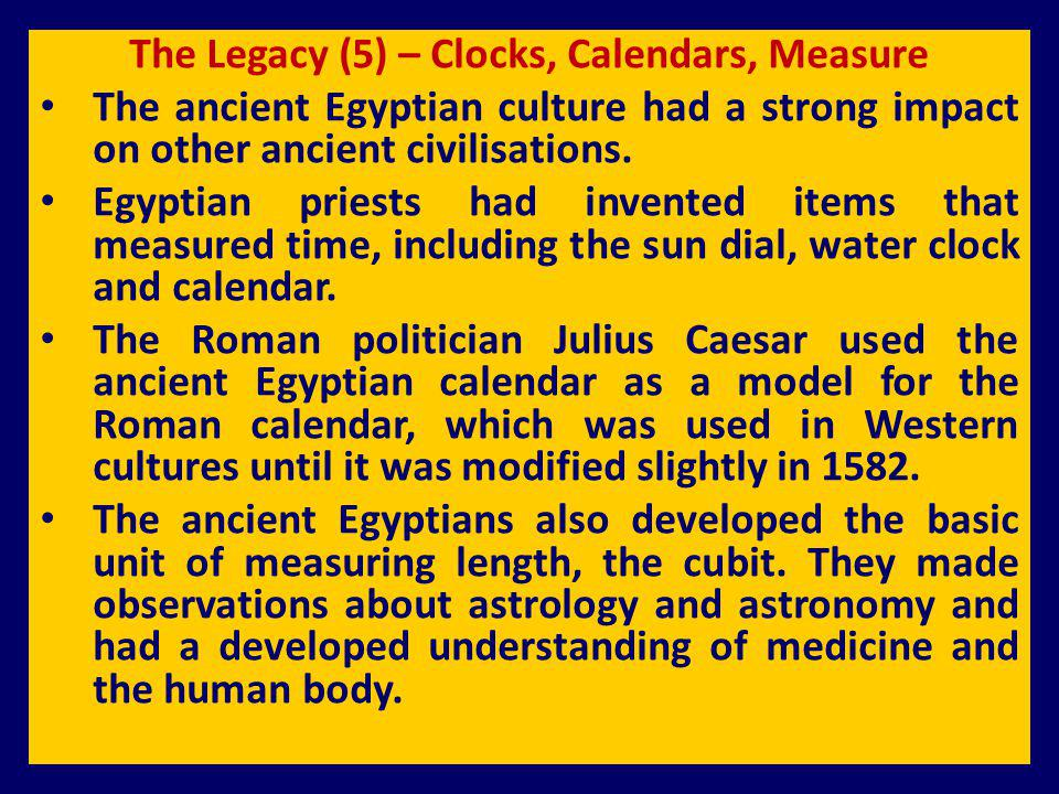 The Legacy (5) – Clocks, Calendars, Measure