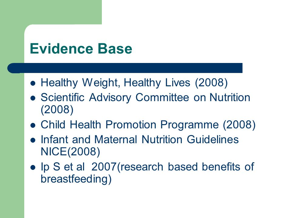 Evidence Base Healthy Weight, Healthy Lives (2008)