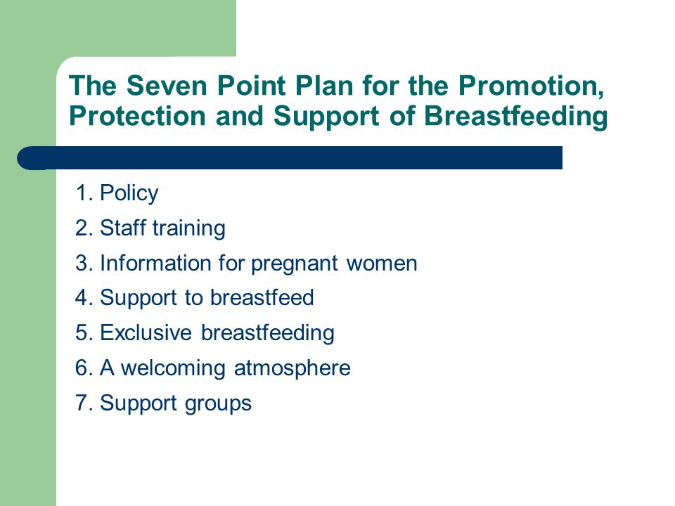 The Seven Point Plan for the Promotion, Protection and Support of Breastfeeding