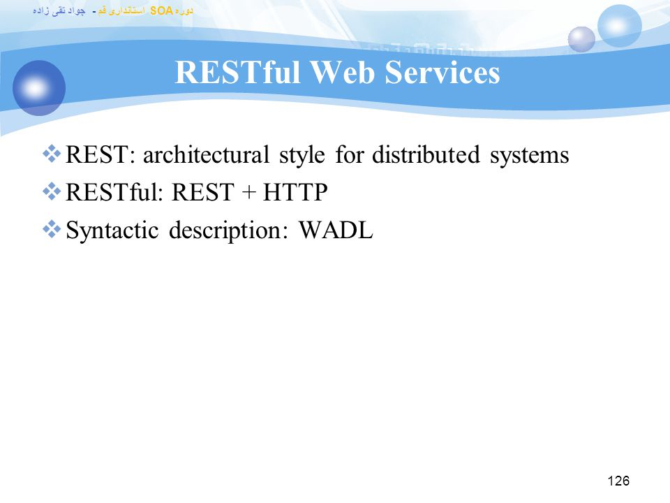RESTful Web Services REST: architectural style for distributed systems