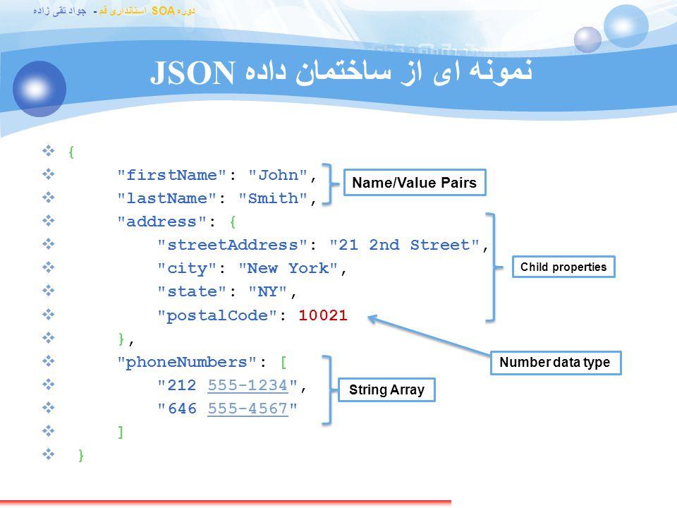 JSON نمونه ای از ساختمان داده