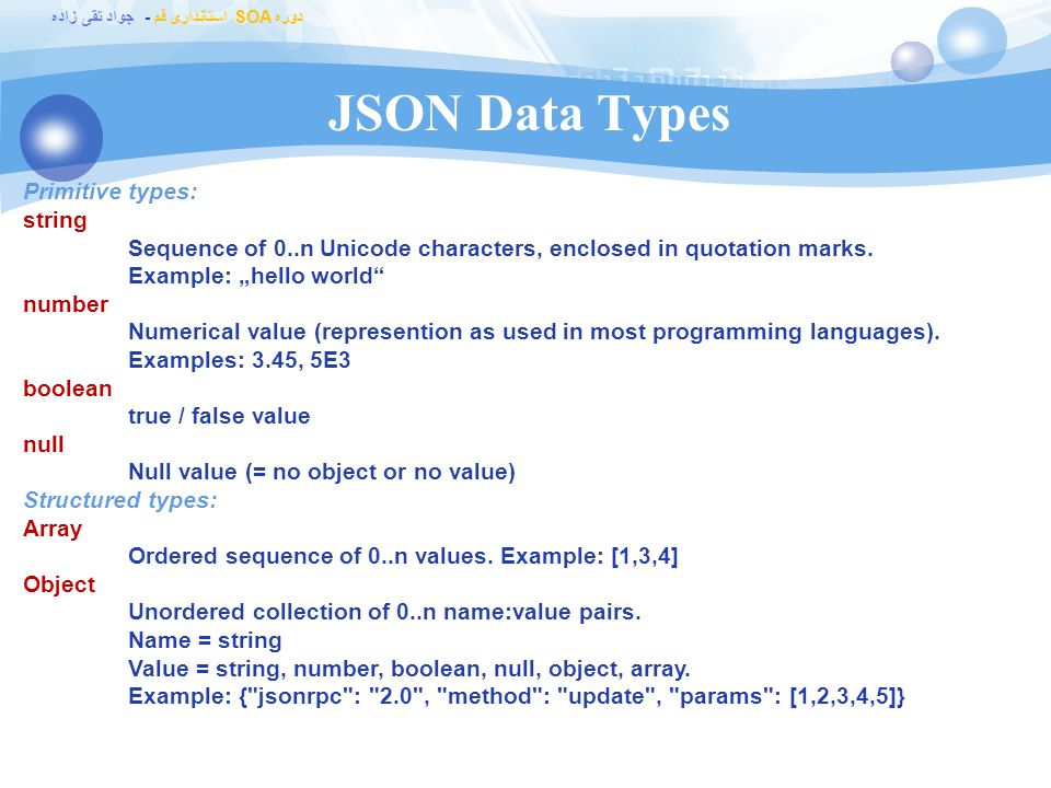 JSON Data Types Primitive types: string