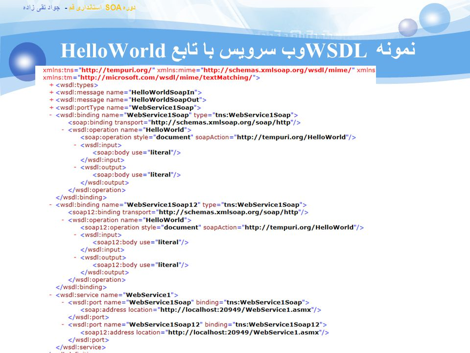 نمونه WSDL وب سرویس با تابع HelloWorld