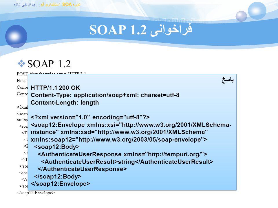 فراخوانی SOAP 1.2 SOAP 1.2 پاسخ HTTP/1.1 200 OK
