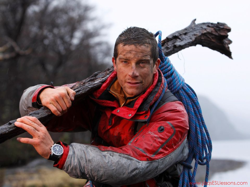 Ask students if they know Bear Grylls and tell them you will be playing a short clip from his TV series – Man vs Wild. After playing video, get students to write 5 adjectives to describe Bear Grylls. Get each student to write their words up on the board, and then ask students which attributes they need to survive if they were lost in the wilderness.
