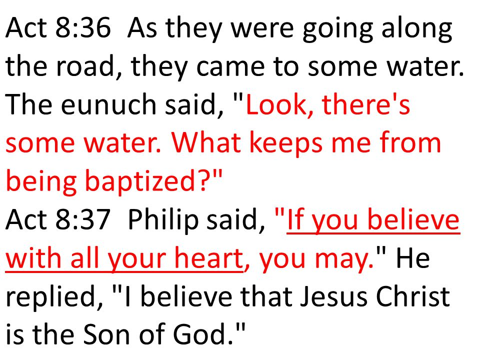 Act 8:36 As they were going along the road, they came to some water