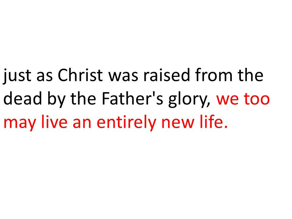 just as Christ was raised from the dead by the Father s glory, we too may live an entirely new life.