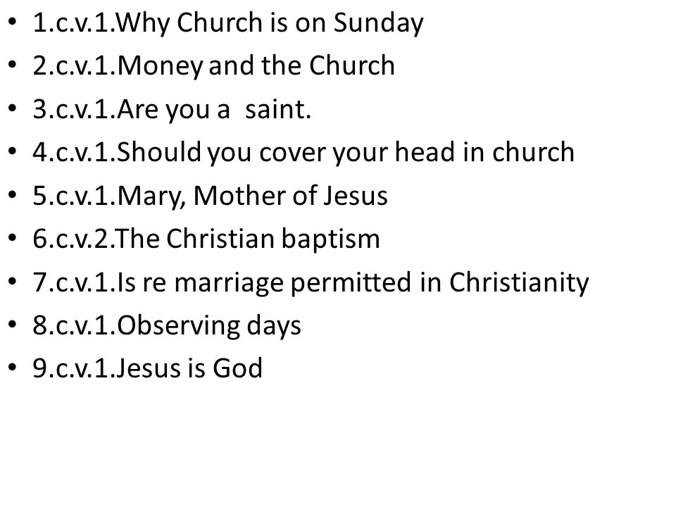 1.c.v.1.Why Church is on Sunday