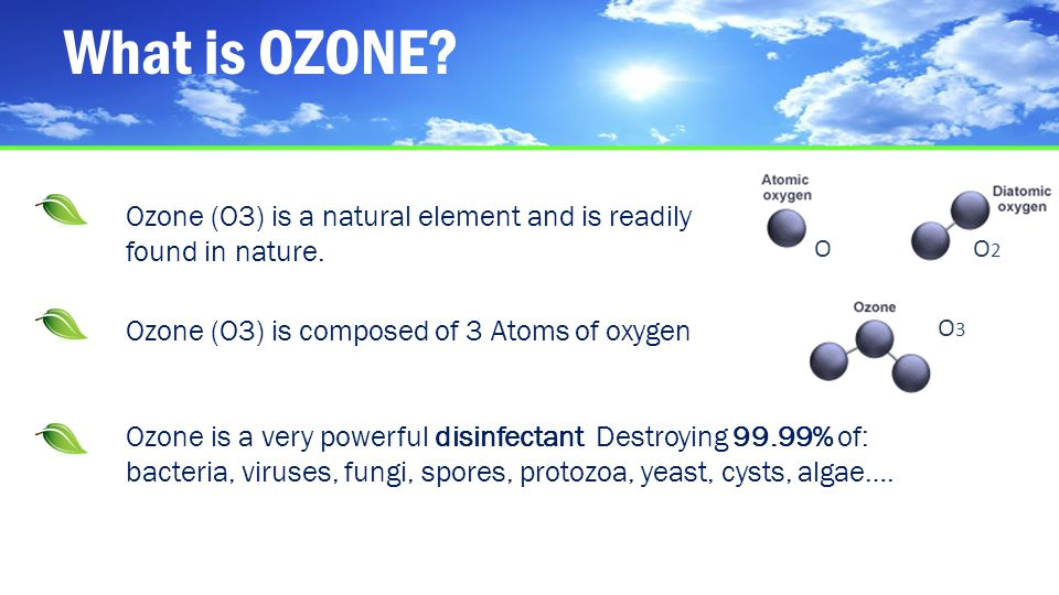 What is OZONE Ozone (O3) is a natural element and is readily found in nature. O. O2. Ozone (O3) is composed of 3 Atoms of oxygen.