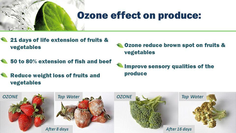 Ozone effect on produce: