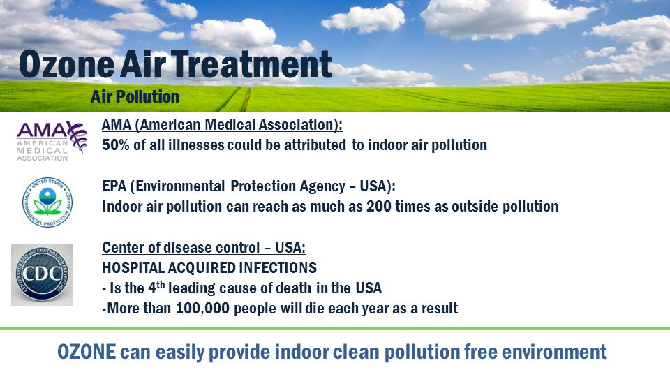 Ozone Air Treatment Air Pollution. AMA (American Medical Association): 50% of all illnesses could be attributed to indoor air pollution.
