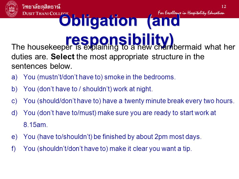 Obligation (and responsibility)