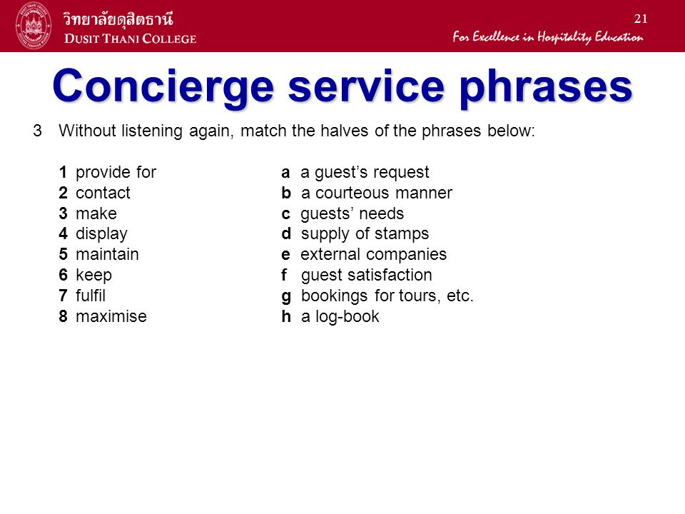 Concierge service phrases