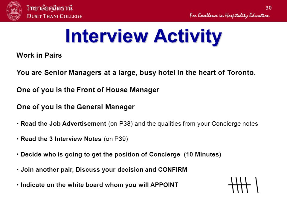 Interview Activity Work in Pairs