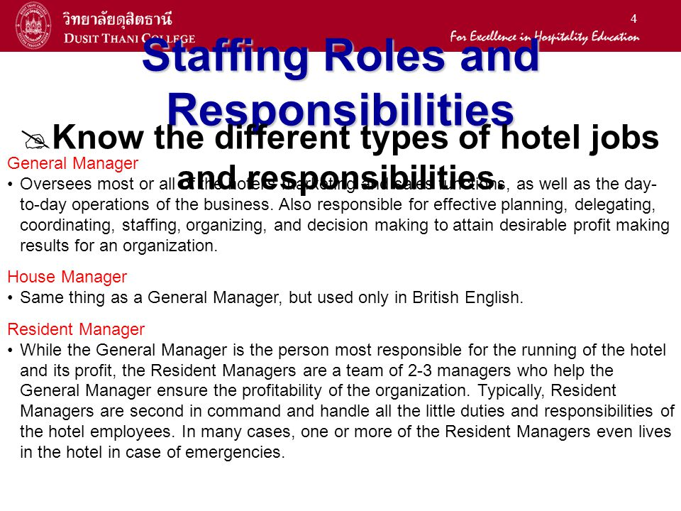 hotel roles and responsibilities General manager job description job code: 50000  training and discipline of all hotel staff  general manager essential duties and responsibilities (continued): .