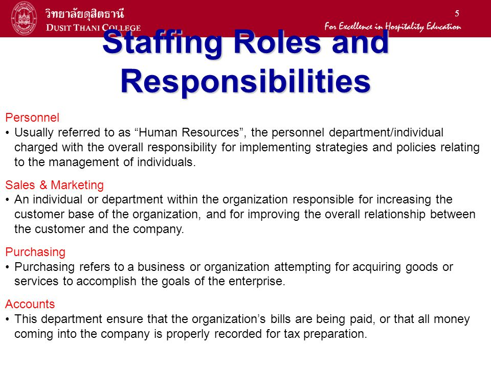 Staffing Roles and Responsibilities