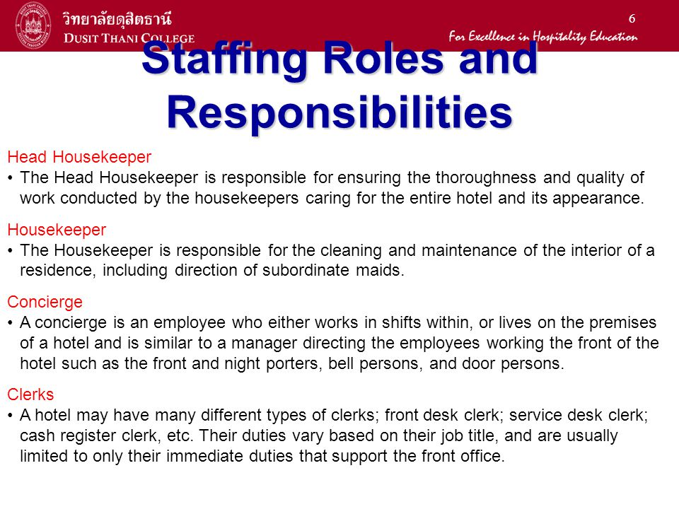 6 staffing roles and responsibilities - Profile Title For Housekeeper