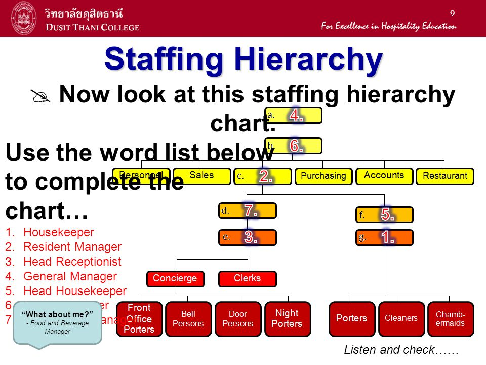 Staffing Hierarchy  Now look at this staffing hierarchy chart.