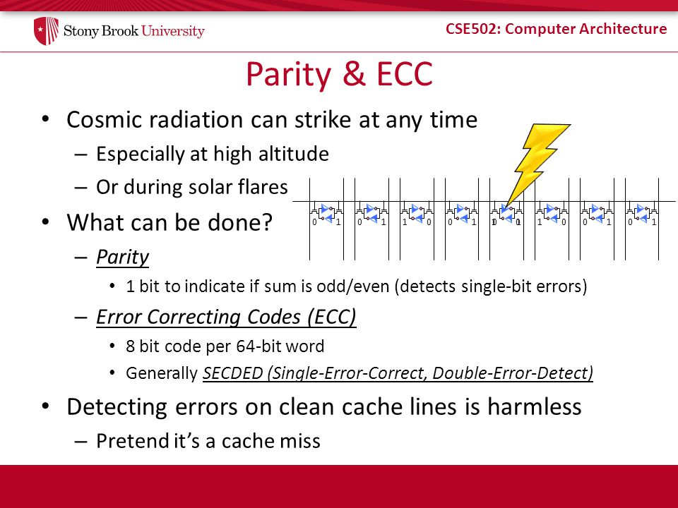 Parity & ECC Cosmic radiation can strike at any time What can be done