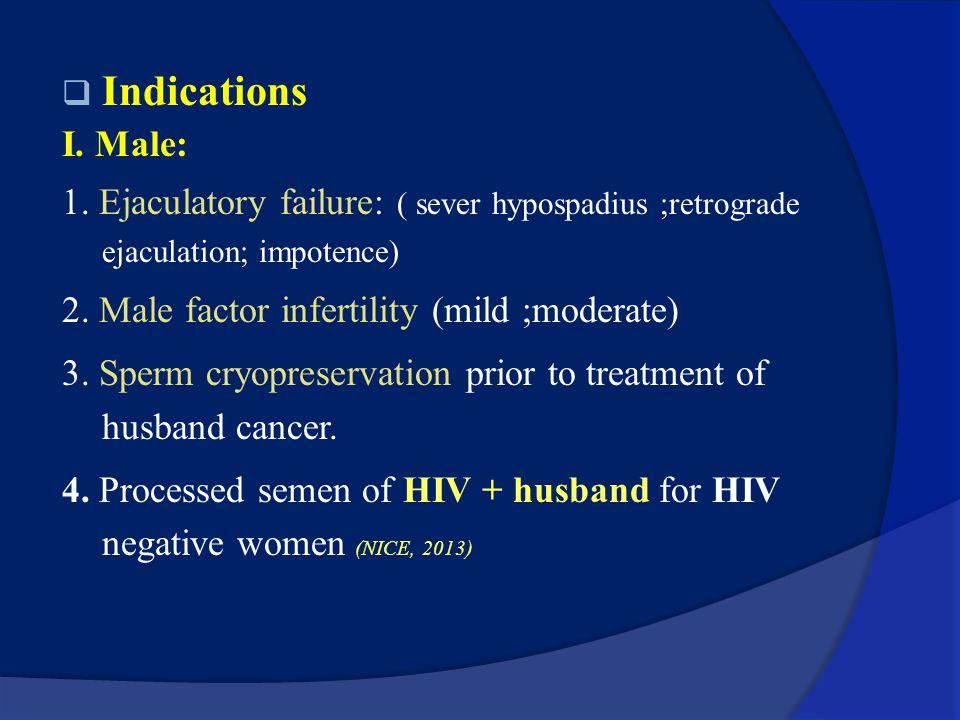 Indications I. Male: 1. Ejaculatory failure: ( sever hypospadius ;retrograde ejaculation; impotence)