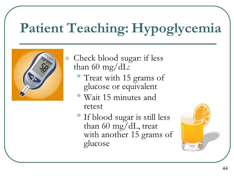 Patient Teaching: Hypoglycemia