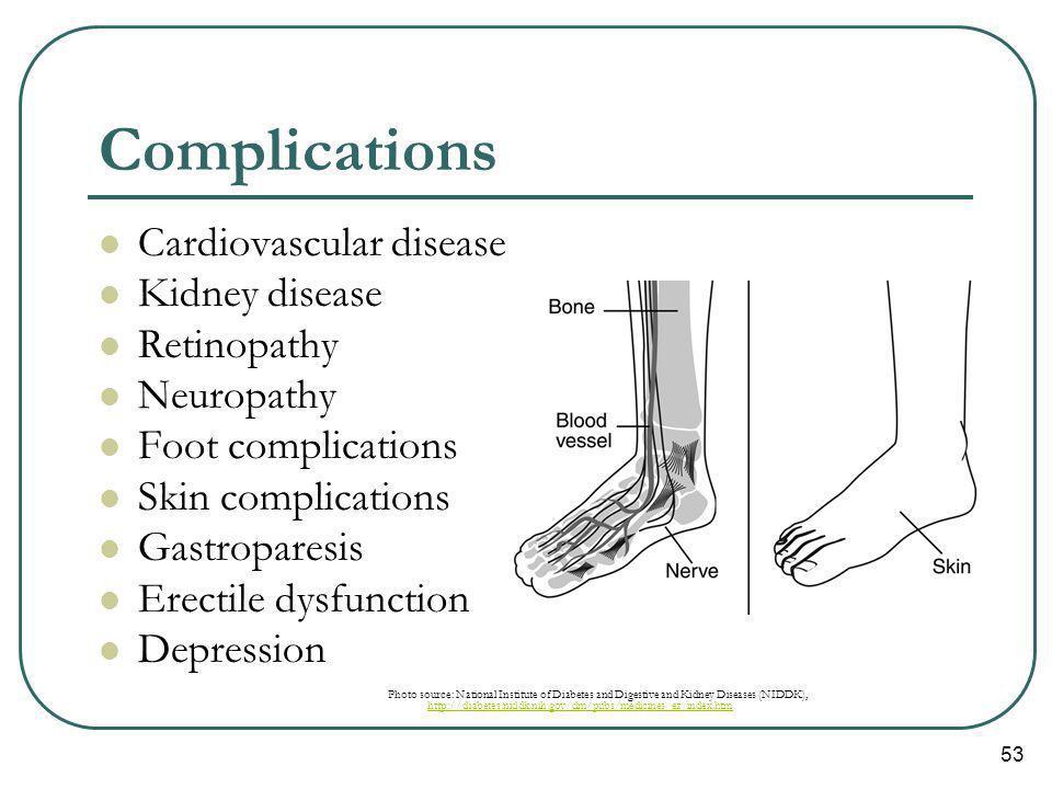 Complications Cardiovascular disease Kidney disease Retinopathy