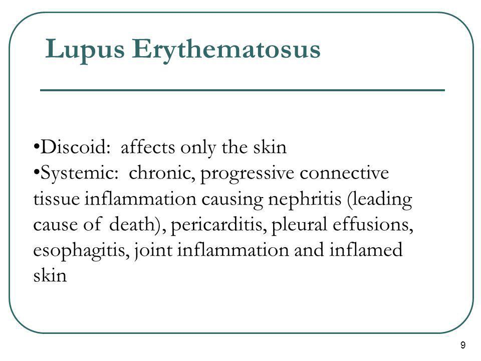 Lupus Erythematosus Discoid: affects only the skin