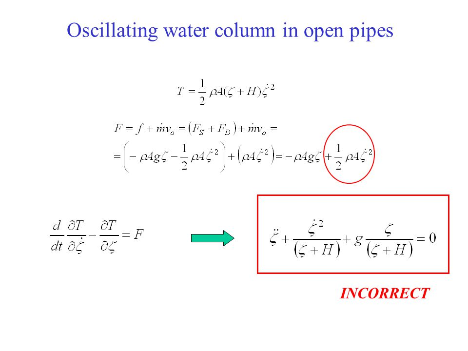 Oscillating water column in open pipes