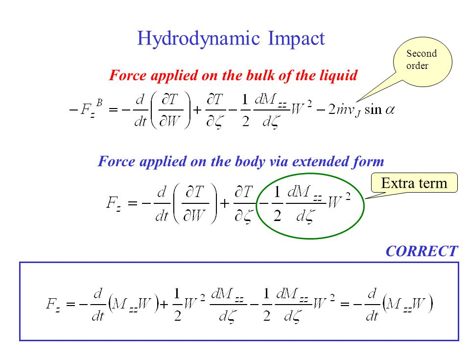 Hydrodynamic Impact Force applied on the bulk of the liquid