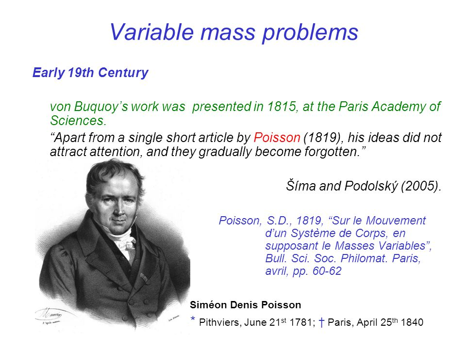 Variable mass problems