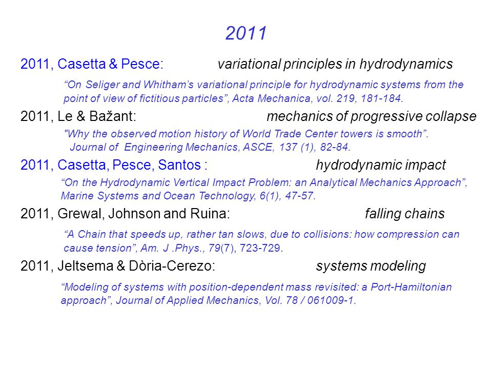 2011 2011, Casetta & Pesce: variational principles in hydrodynamics