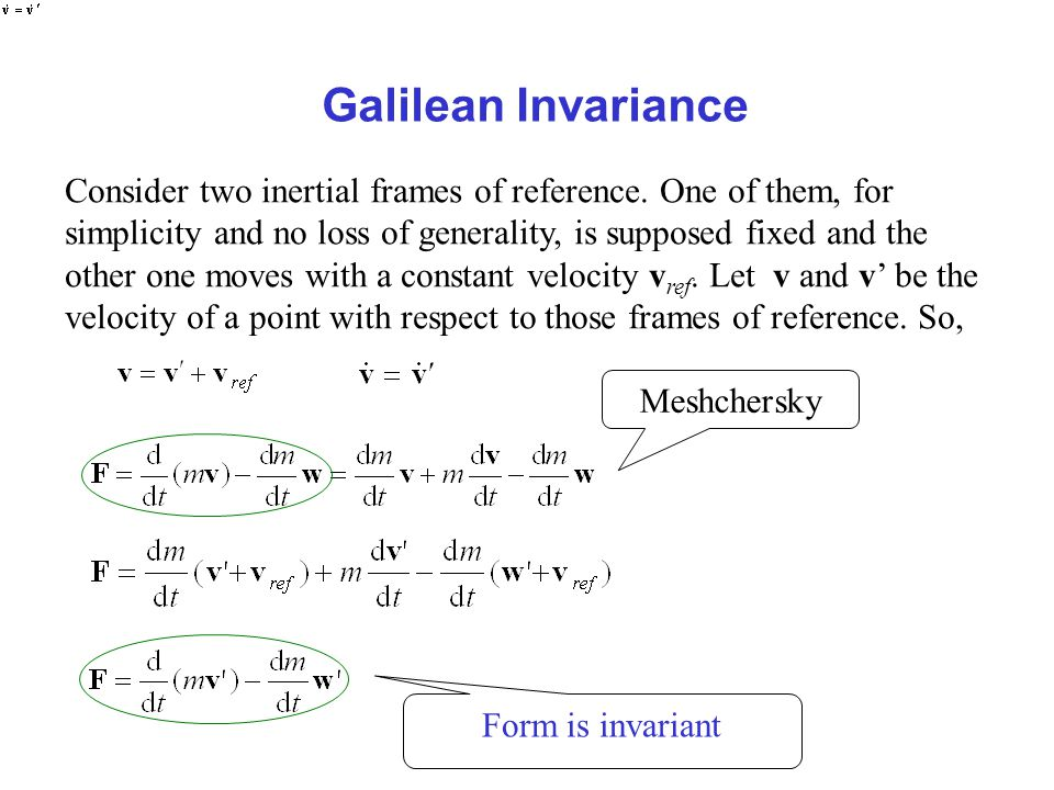 Galilean Invariance