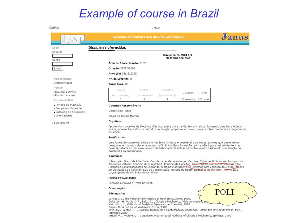 Example of course in Brazil