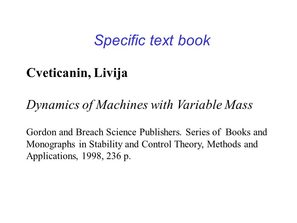 Specific text book Cveticanin, Livija