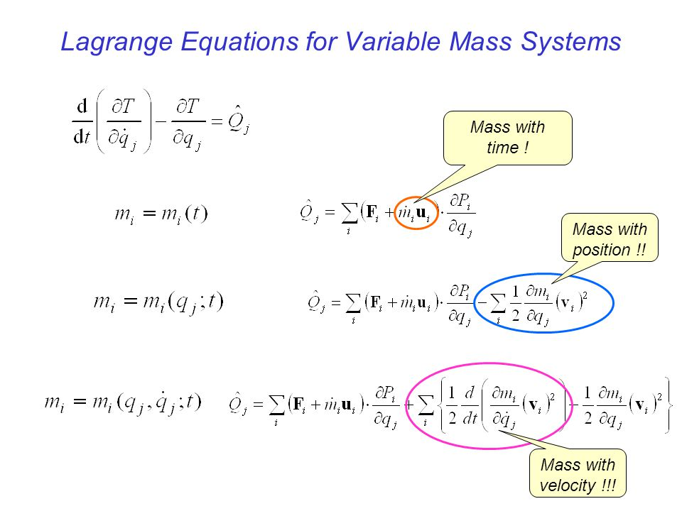 Lagrange Equations for Variable Mass Systems