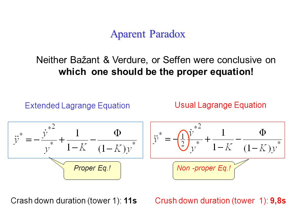 Aparent Paradox Neither Bažant & Verdure, or Seffen were conclusive on which one should be the proper equation!